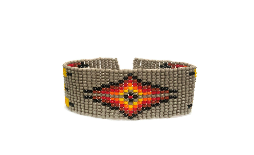 Gray Beaded Wristband Bracelet, Handcrafted, Casual Bracelets, Loom, Jewelry, Multicolored Seed Beads, Western Look, 1 x 7 inch