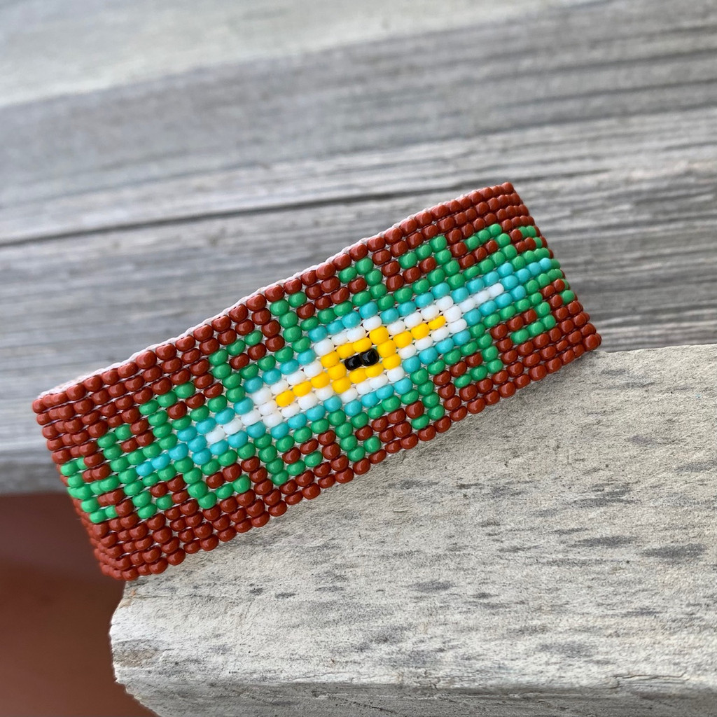 Beaded Wristband Bracelet, Handcrafted, Casual Bracelets, Loom, Jewelry, Multicolored Seed Beads, Teal and Brown, Western Look, 1 x 7 inch