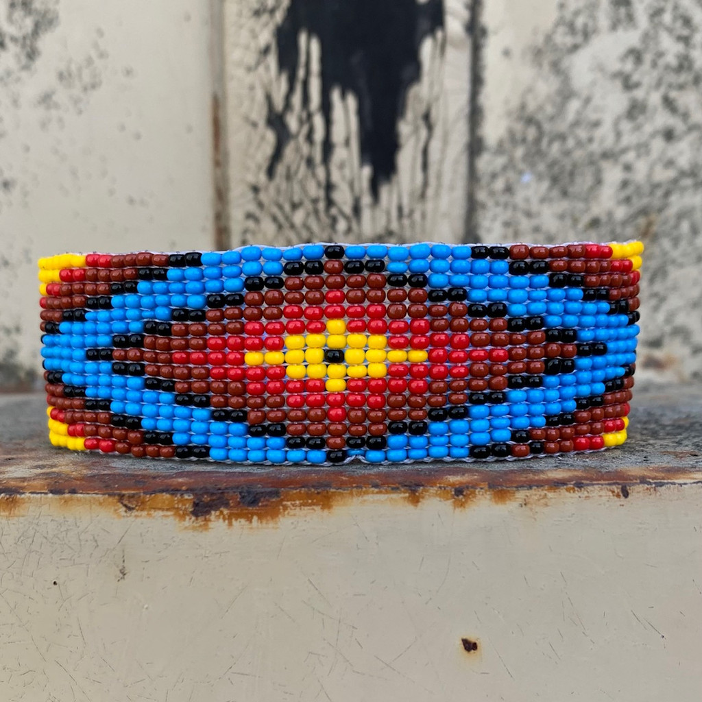 Beaded Wristband Bracelet, Handcrafted, Casual Bracelets, Loom, Jewelry, Multicolored Seed Beads, Blue and Red, Western Look, 1 x 7.25 inch