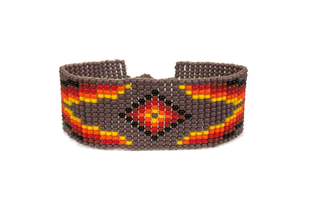 Beaded Wristband Bracelet, Handcrafted, Casual Bracelets, Loom, Jewelry, Seed Beads, Brown, Yellow, and Orange, Western Look, 1 x 7 inch