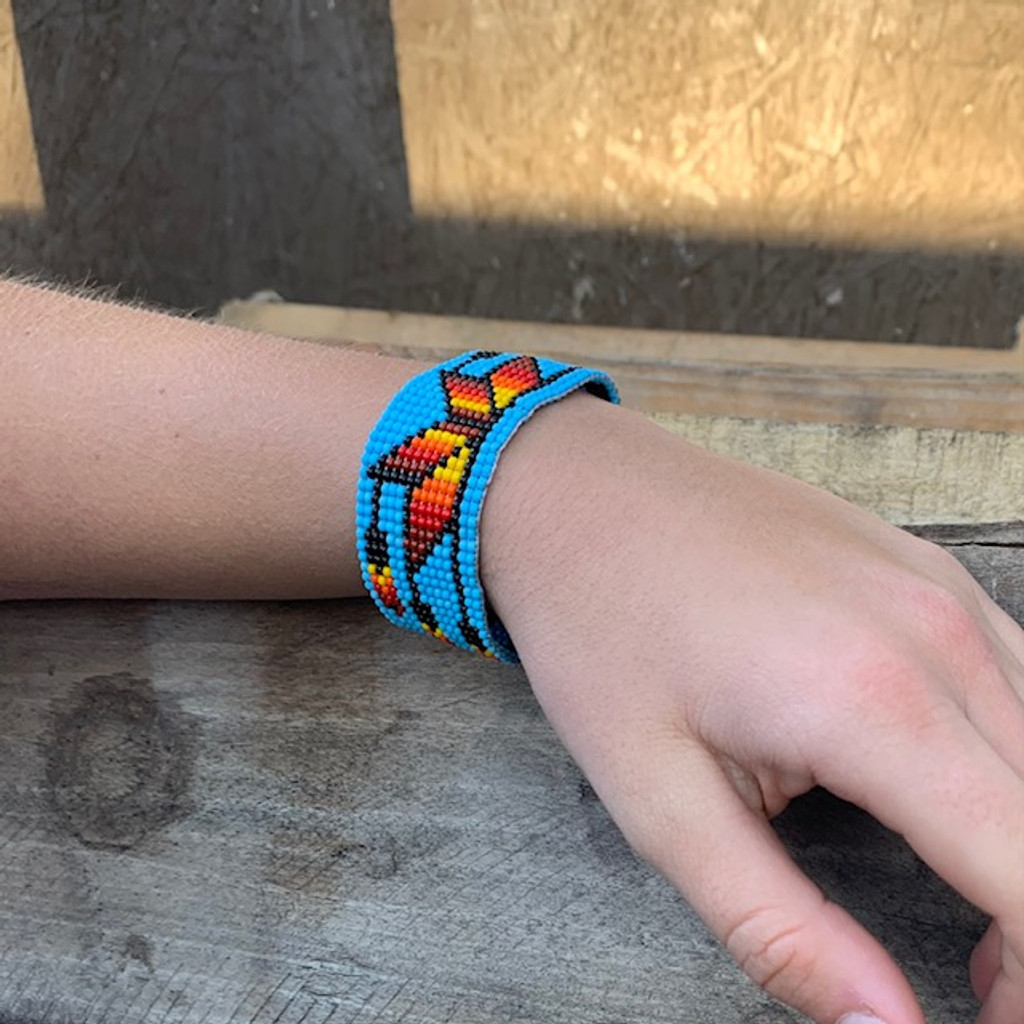 Beaded Bracelet, Handcrafted, Casual Bracelets, Loom, Jewelry, Seed Beads, Blue Wristband with Multicolored Flower, 1 x 7 inch