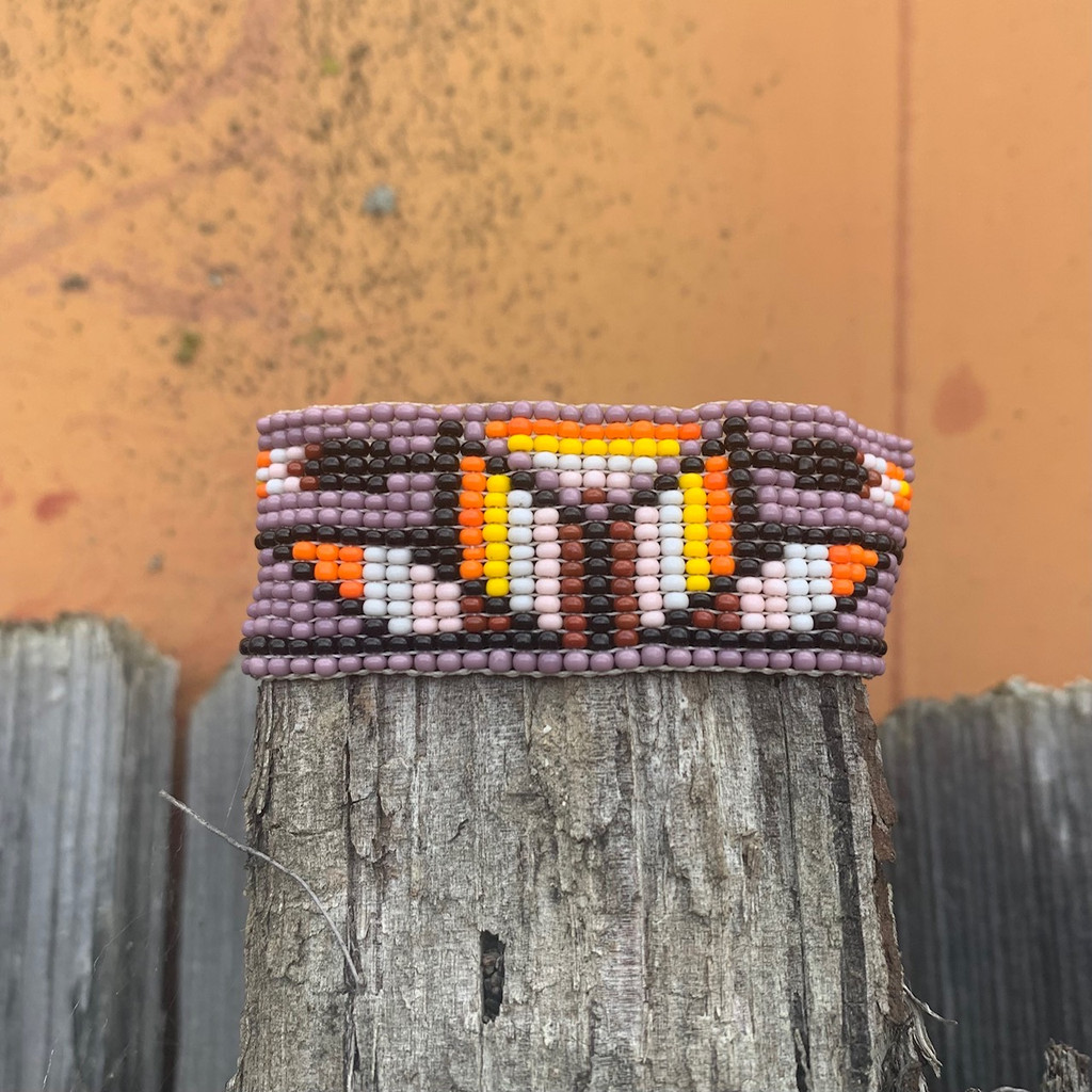 Casual Bracelets, Loom, Jewelry, Seed Beads, Mauve Wristband with Multi Color Beads, Flower Motifs,  Handmade 1 x 7 inch