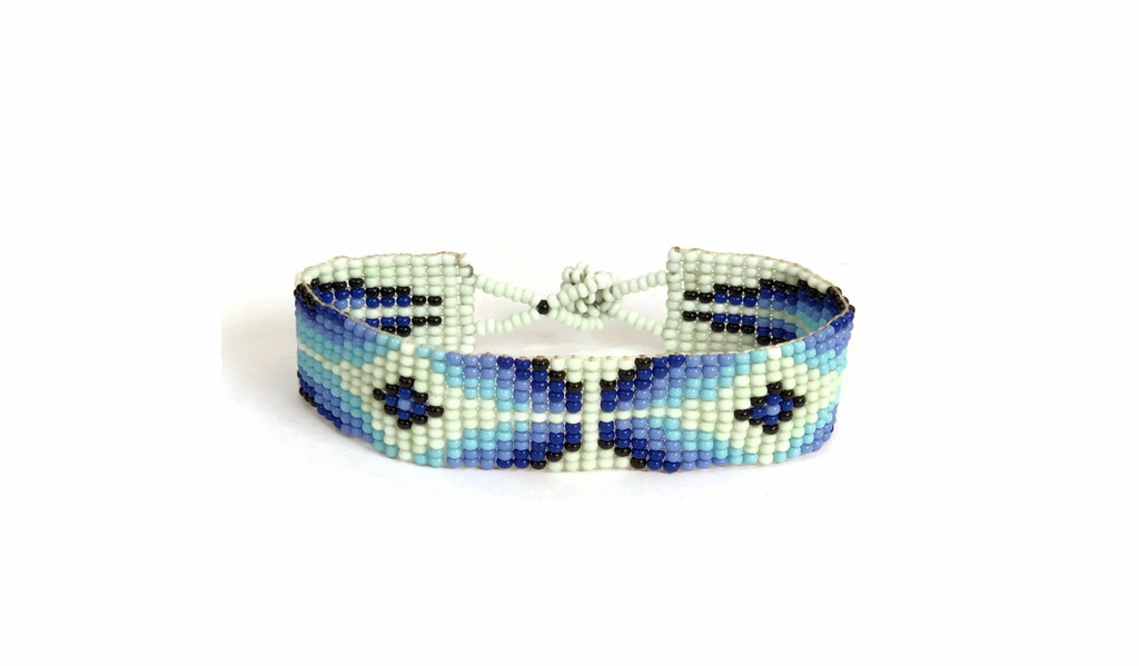 Hand Woven Southwestern Style Bracelets, Beaded Bracelet, Casual Jewelry, Mint Green and Blue Seed Beads, Stack .75 x 7.25 Inches