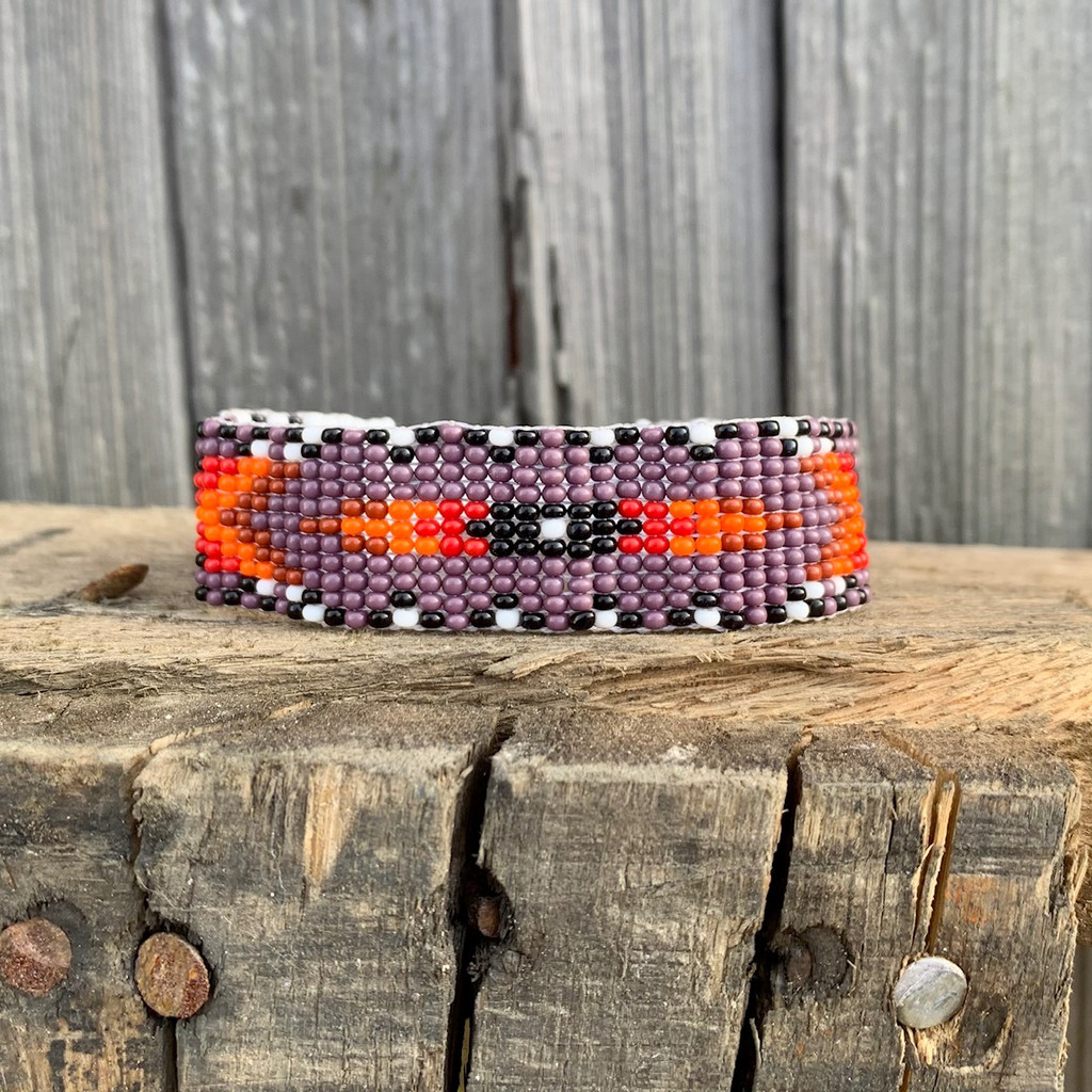 Hand Woven Southwestern Style Bracelets, Beaded Bracelet, Casual Jewelry, White, Purple, and Orange Seed Beads, Stack .75 x 7.25 Inches