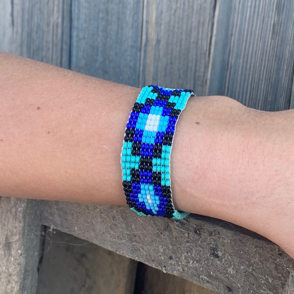 Hand Woven Southwestern Style Bracelets, Narrow Beaded Bracelet, Casual Jewelry, Turquoise and Blue Seed Beads, Stack .75 x 7.25 Inches