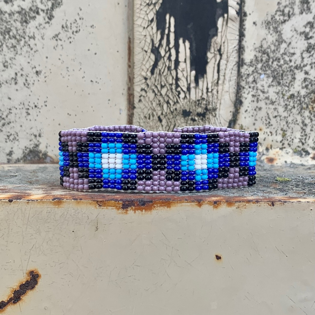 Hand Woven Southwestern Style Bracelets, Narrow Beaded Bracelet, Casual Jewelry, Purple and Blue Seed Beads, Stack .75 x 7.25 Inches