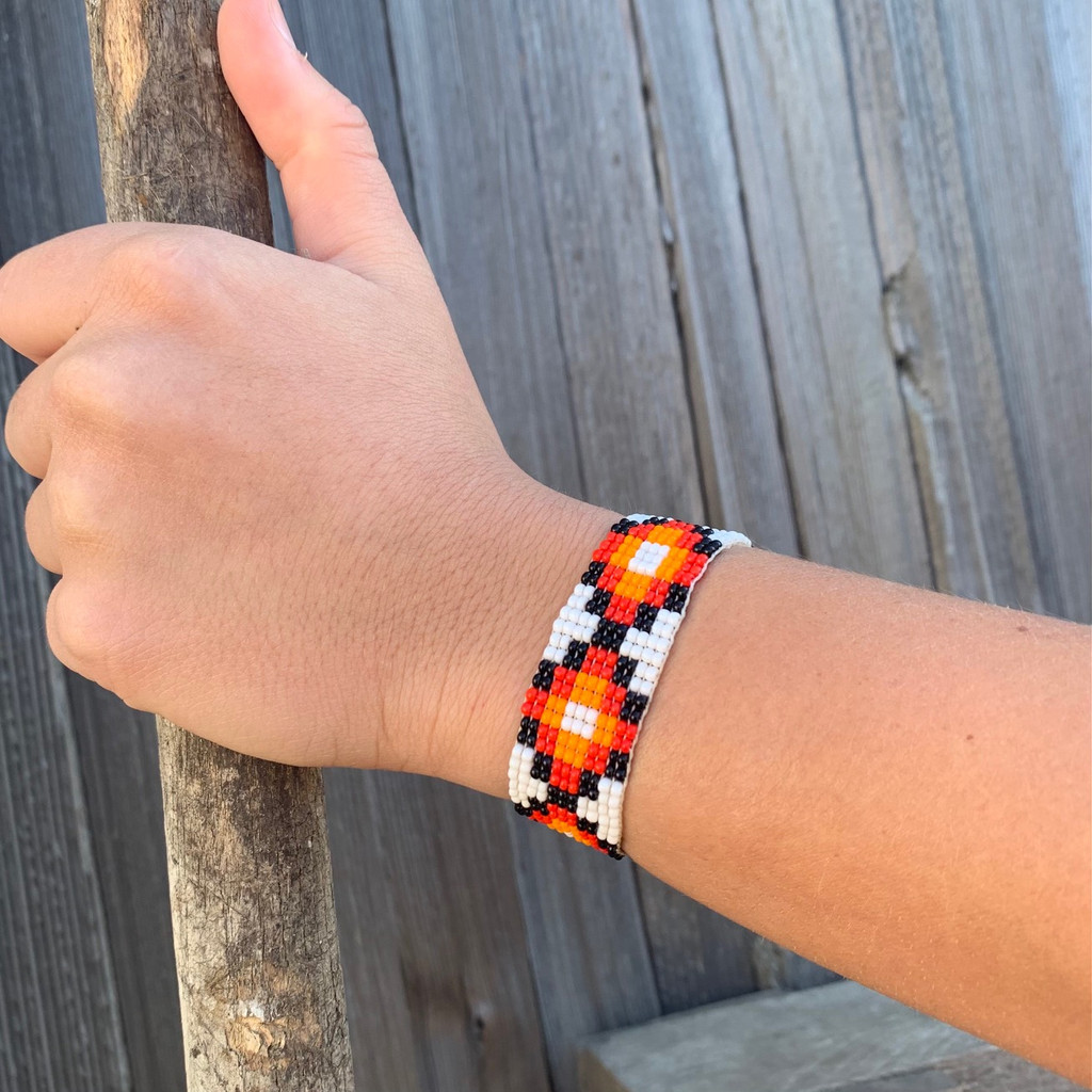 Hand Woven Southwestern Style Bracelets, Narrow Beaded Bracelet, Casual Jewelry, White and Orange Seed Beads, Stack .75 x 7.25 Inches