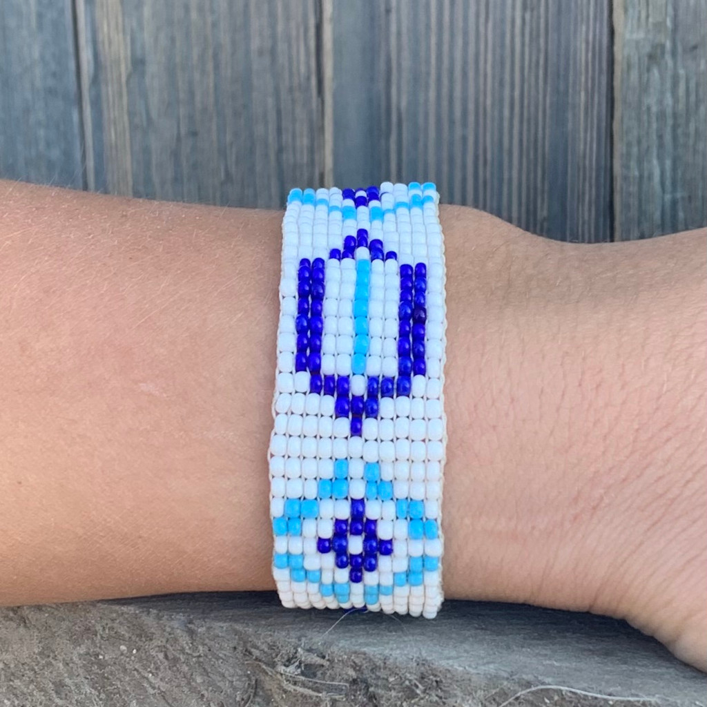 Handmade Beaded Bracelet, Western Look, Casual Jewelry, Stack Bracelets, Blue and White Seed Beads, Friendship .75 x 7.25 Inches
