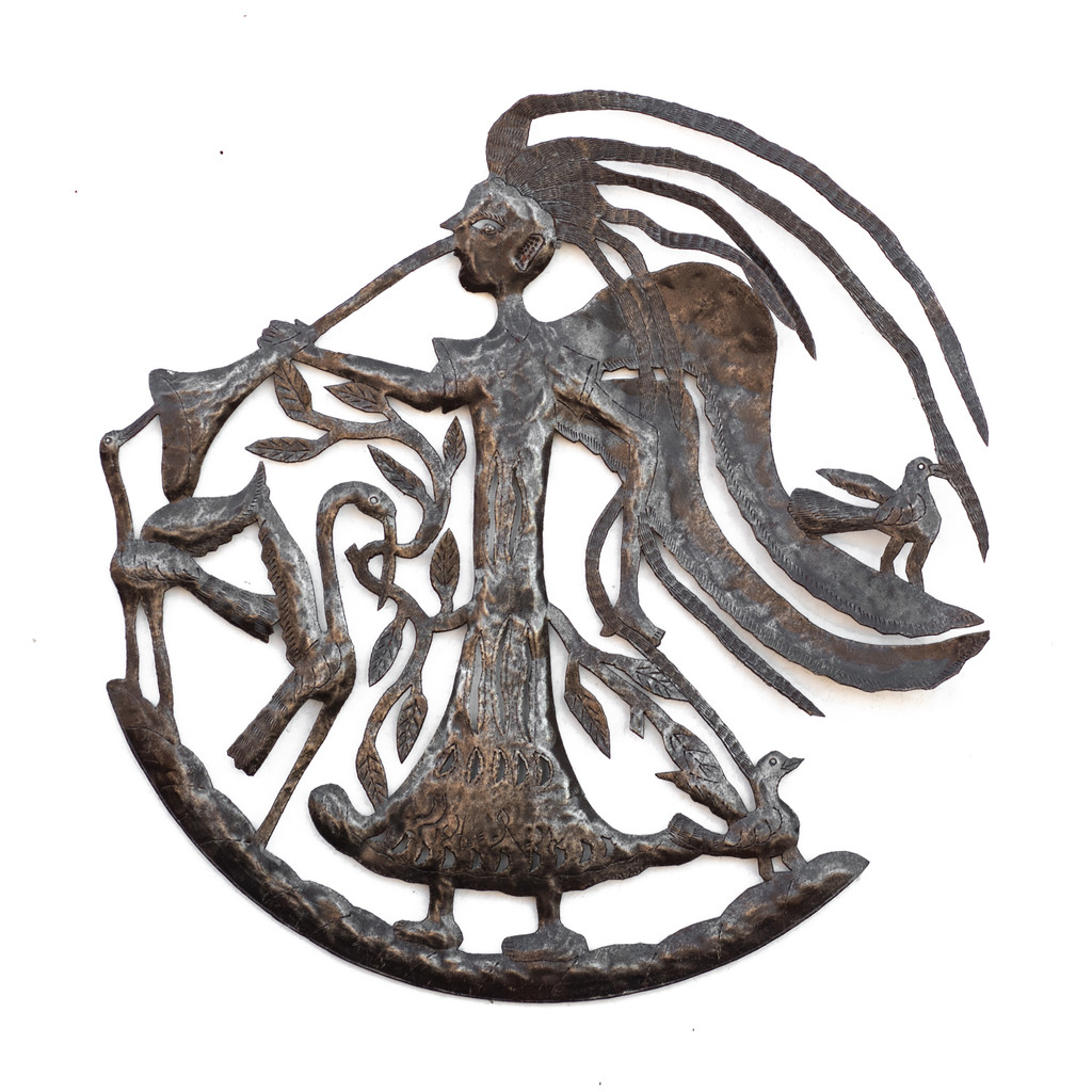 Michee Ramil Remy, Upcycled, Metal, Steel, Oil Barrels, Flamingo, Birds, Metal, Steel, Farmhouse, Guardian Angel, Angel, Angelic