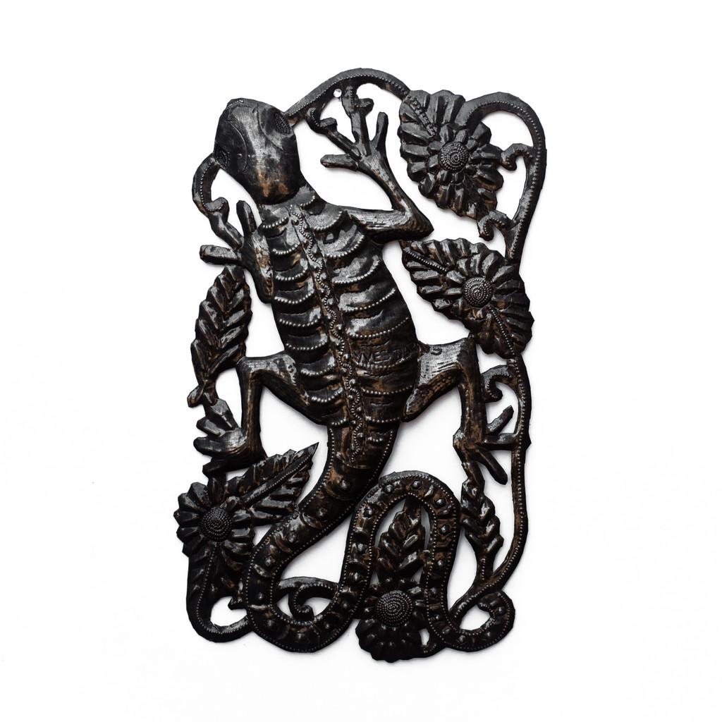 Gecko, Reptiles, Lizards, Flowers, Floral Art, Handmade, Handcrafted, Haitian