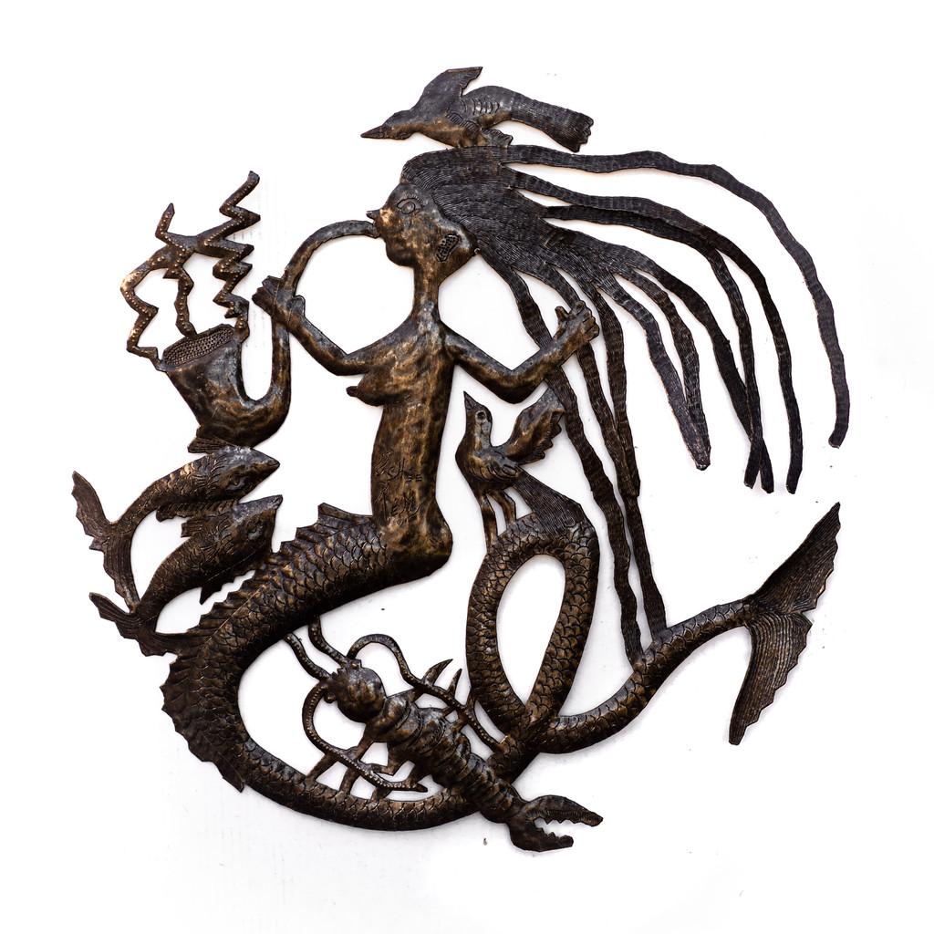 Vintage, Mermaid, Michee Remy, Michee Ramil Remy, Vintage Metal Art, Folk Art, Trumpet, Musical Mermaid, Under the Sea, Sea Life, Ocean, Beach Home, Beachy
