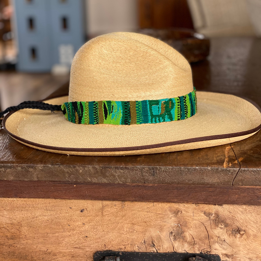 Hatband Handwoven Cotton Wrap Around Tie, Western Jewelry, Green and Teal Tones, Guatemalan, Cowboy Hatband, Wester Wear