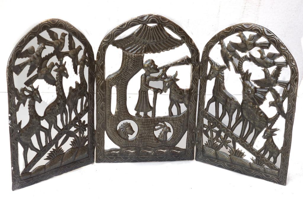 Triptych Noah & The Arc, Metal Noah & The Arc Decor, Metal Religious Decor, Metal Biblical Decor