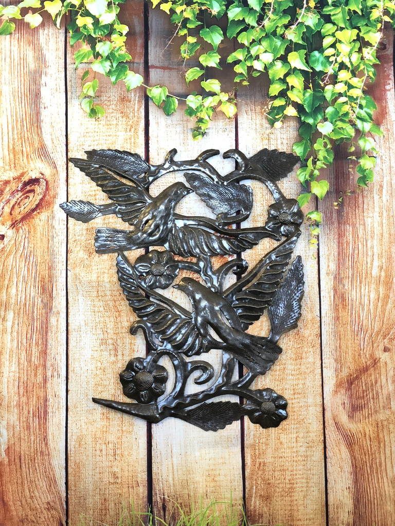 "Birds Wings and Flowers Haitian Home Decor 16"" x 17"""