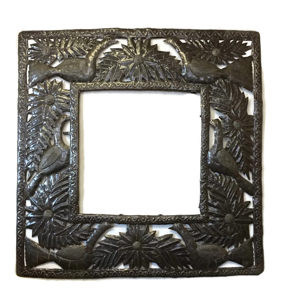 garden Metal wall frame with birds and flowers