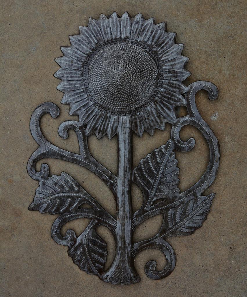 Haiti Metal Steel drum art sunflower