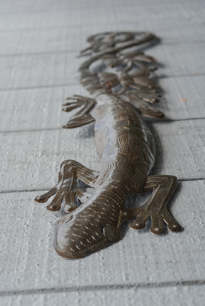 "Gecko Climbing the Wall, Garden Indoor and Outdoor Decor, Quality Haitian Craftsmanship 5"" x 34"""
