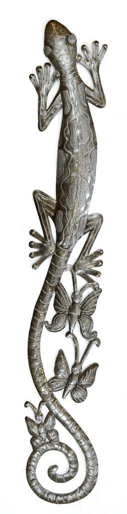 Gecko Climbing the wall, haiti metal art, indoor and outdoor, steel drum art