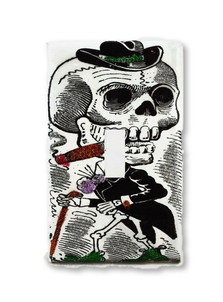 day of the dead skeleton light switch cover