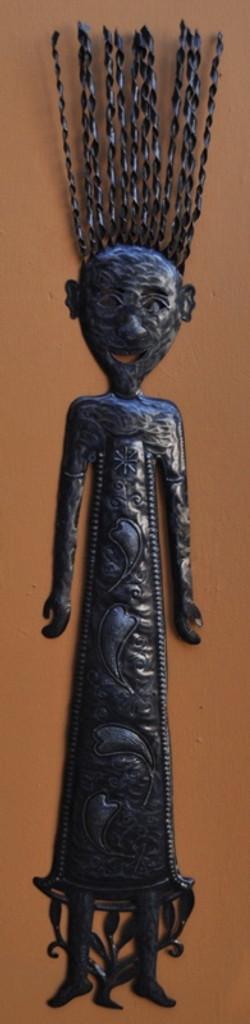 girl folk art metal wall art  Haiti