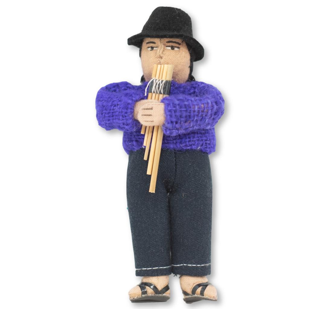 Bolivian Otavalan Man Soft Sculpture Doll playing panpipes