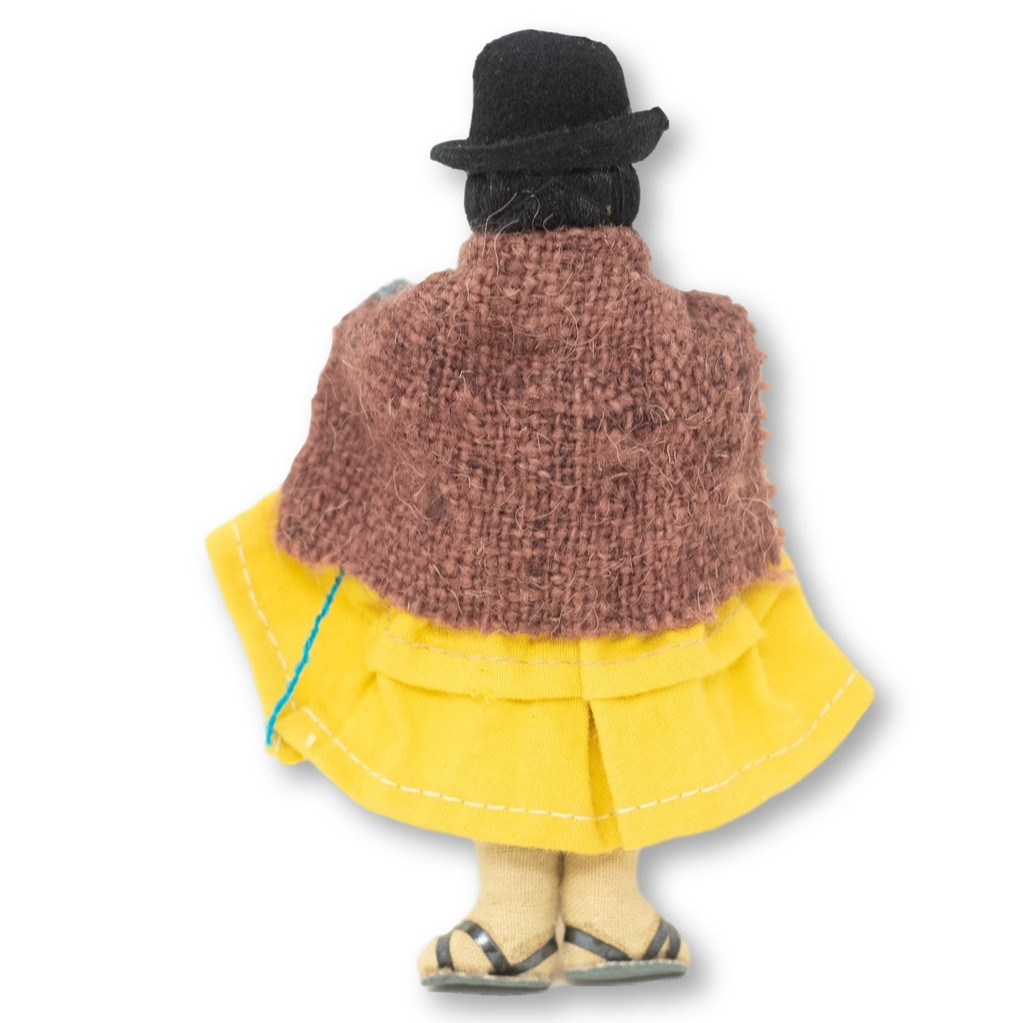"""Bolivian Doll, Cholita holding a Baby with Bowler Hat 5"""" x 2"""" 1.5"""""""