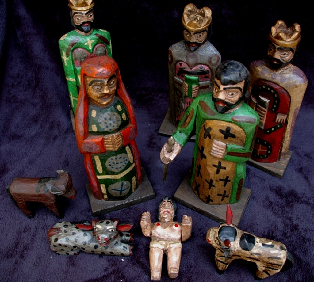 hand carved Guatemalan Nativity, Nahaula