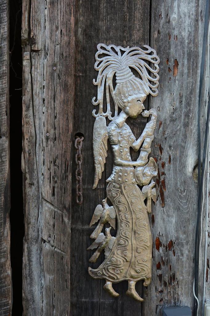 haiti metal angel, indoor and outdoor, steel drum art fair trade