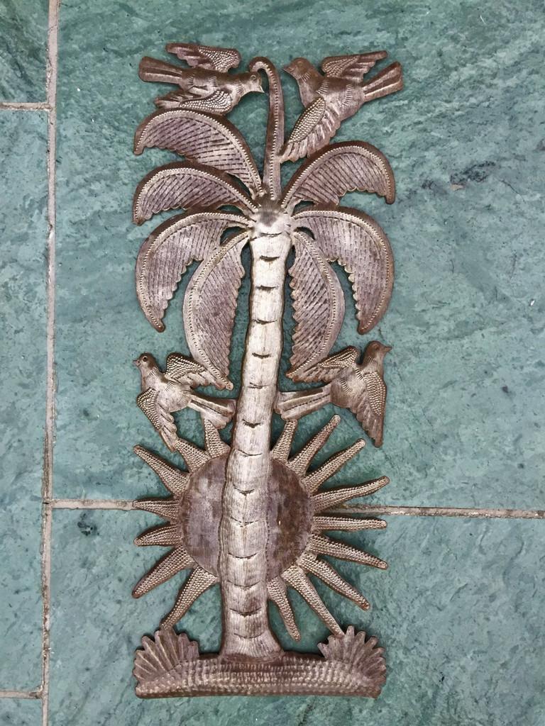 "Sunrise Palm, Recycled Steel Drum Art 6"" x 17"""