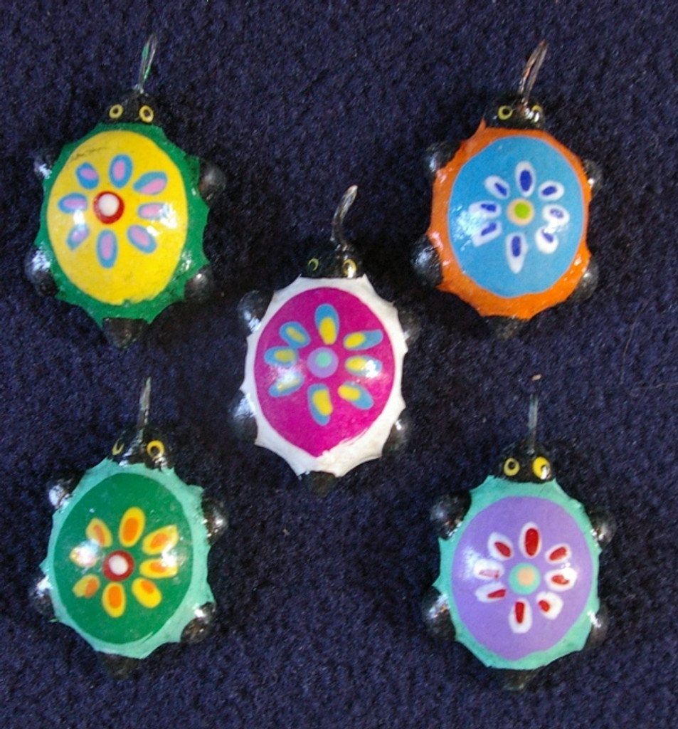 Turtles Hand Painted Clay Charms, Beads Guatemala