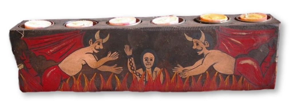 day of the dead alter candle holder , hand painted devils and flames