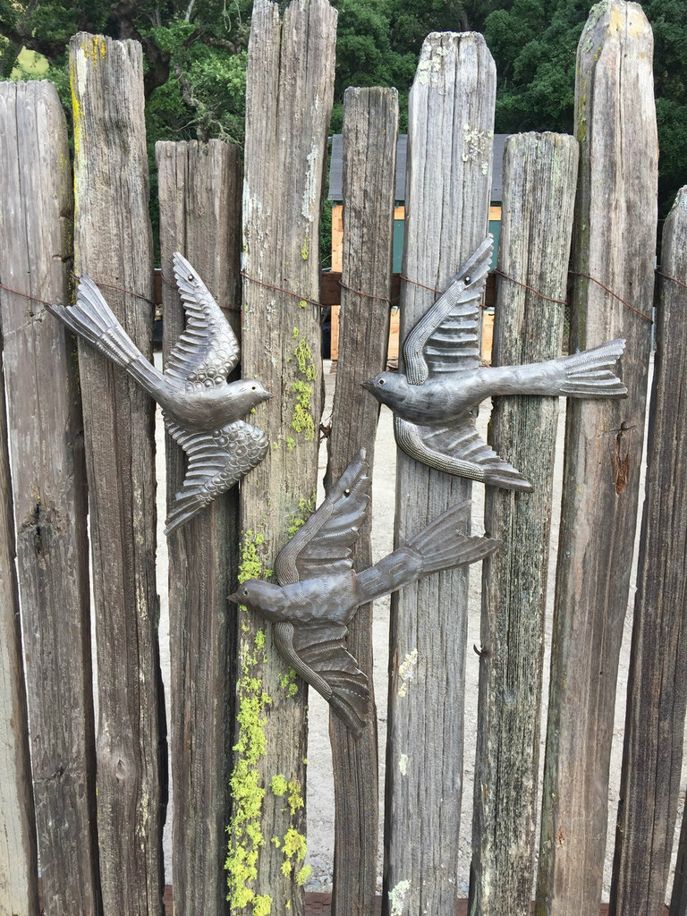 "Flock of Birds, Garden Recycle Art, Haitian Metal (set of 3) 12.5"" X 13"""
