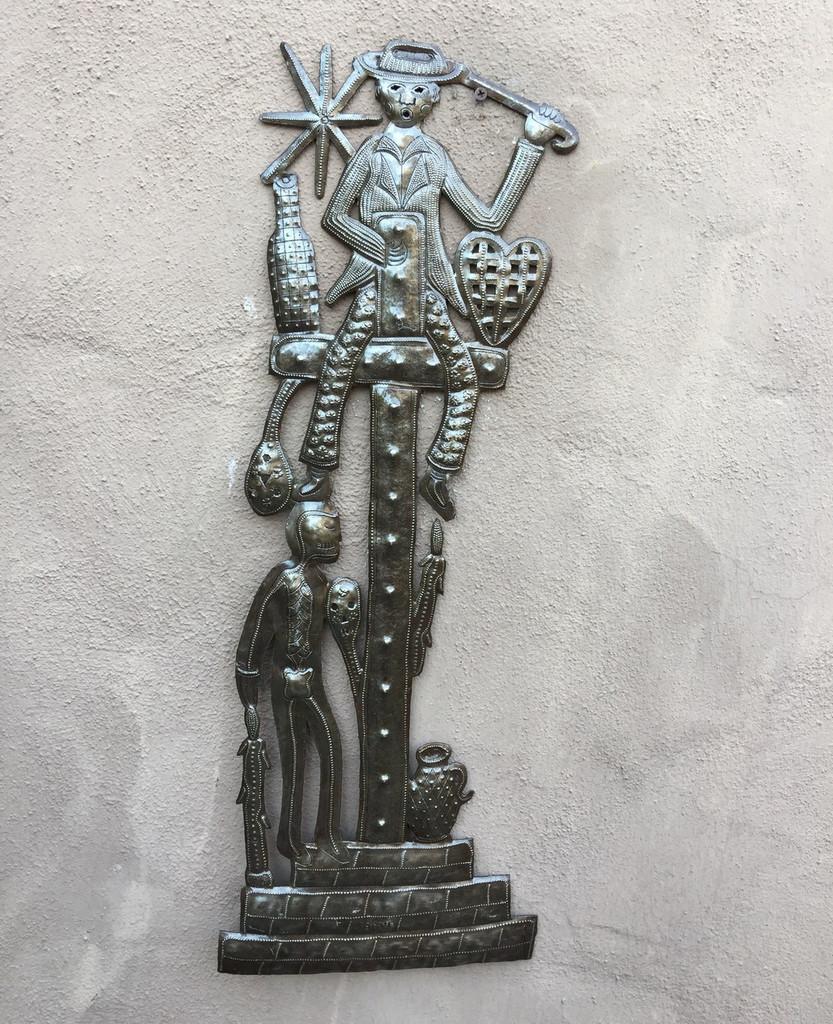 Ghede haitian voodoo art cemetary metal wall art