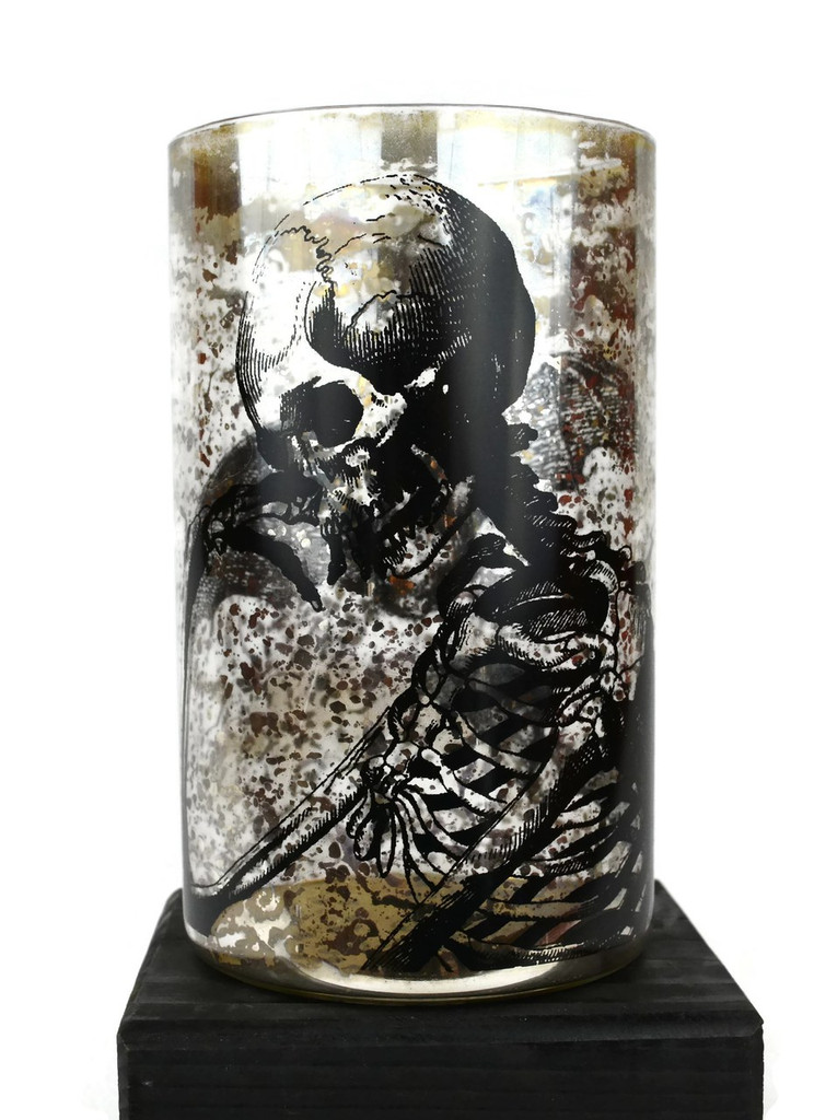 "Day of the Dead Skeleton Glass FVase 4.5"" x 8"""
