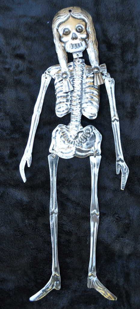 Mexican Tin Skeleton Girl, Day of the Dead Decoration 15.5""
