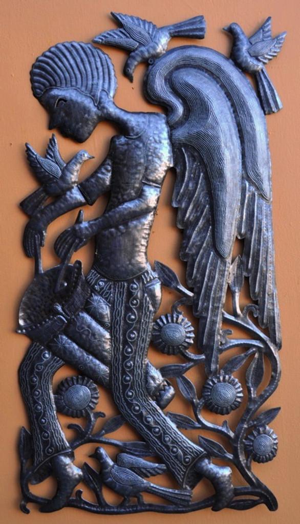 Folk Art Haiti, Casey Riddell, Angel Playing Drum Wall Art