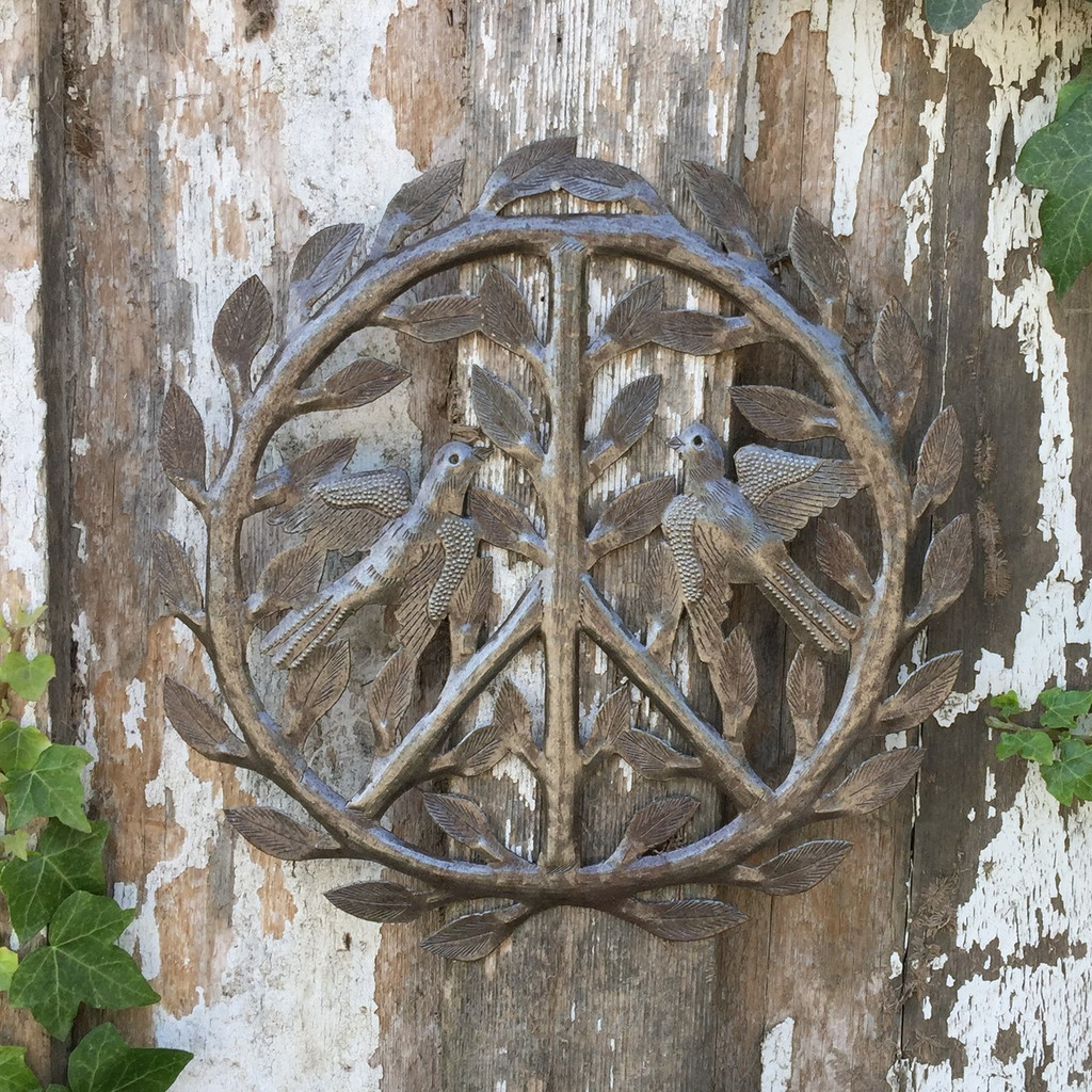 """Peace Sign Haitian Metal Recycled Outdoor Art Wall Sculpture, 12"""" x 12"""" SM286"""