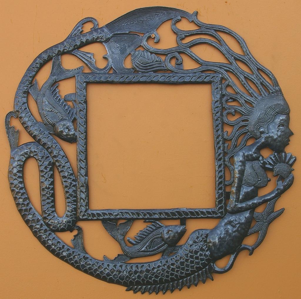 Mermaid Wall Frame, Haitian Metal Art