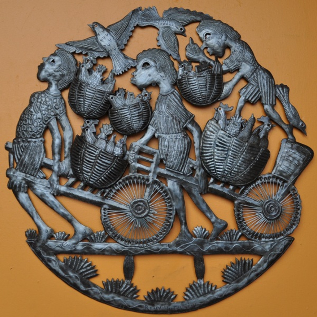 """Baskets of Birds  - One of a Kind    23"""" x 23"""""""