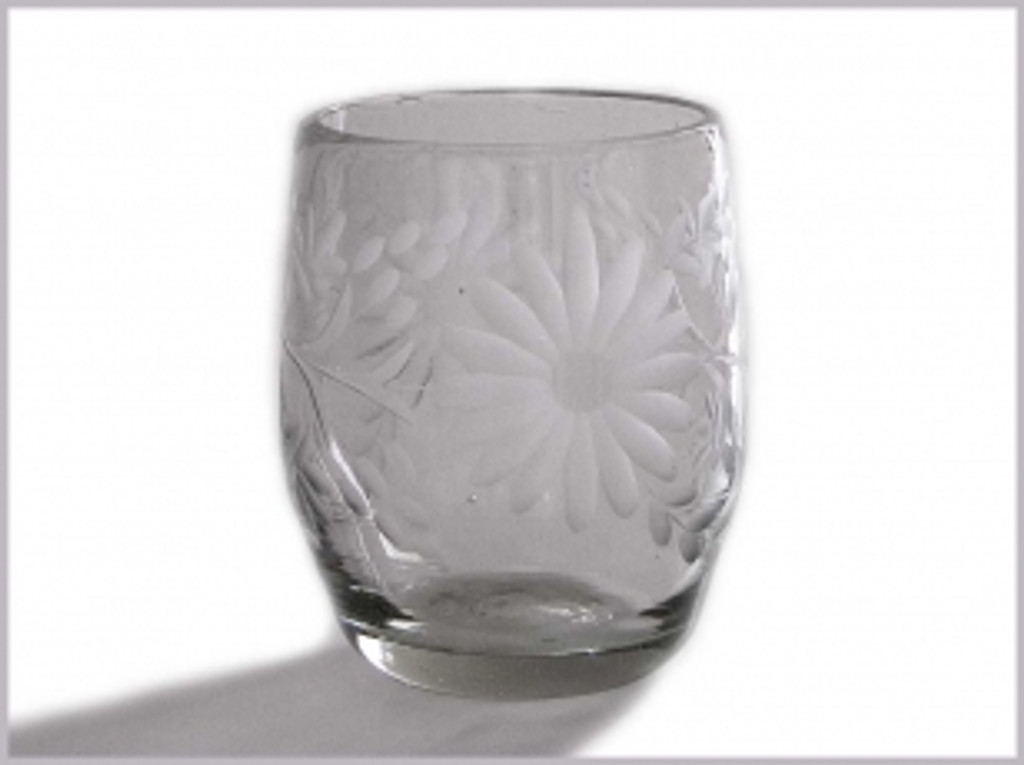 Etched Mexican Glass Clear Stemless Wine Glass