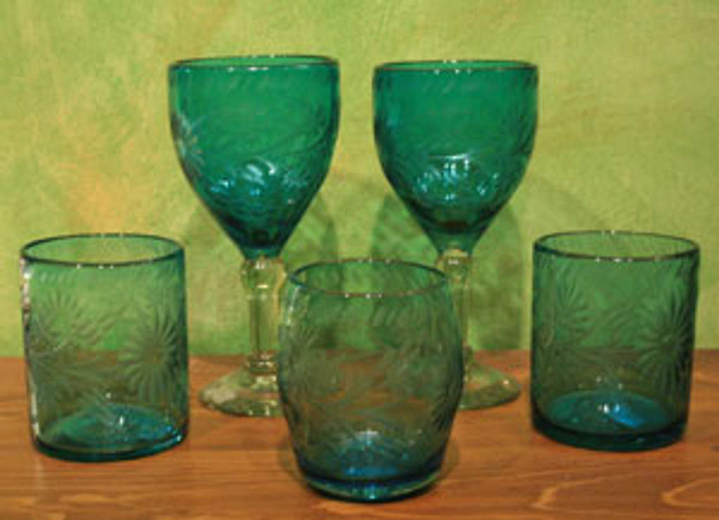 Etched Mexican Glass Verde Tall