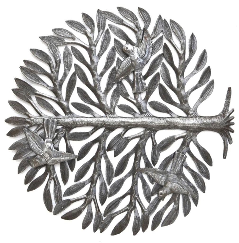 tree of life with 3-d birds haiti metal art