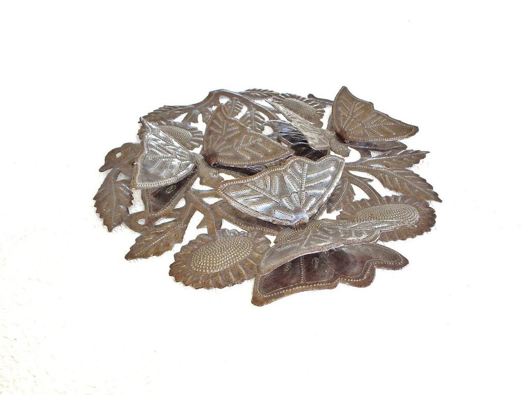 3-d butterfly garden art hand made in Haiti