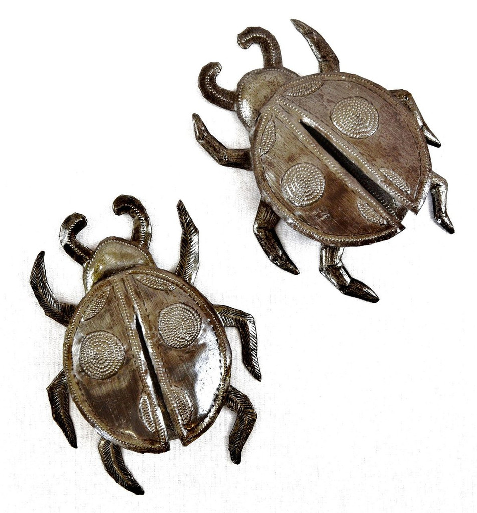 Lady bugs made from recycled metal