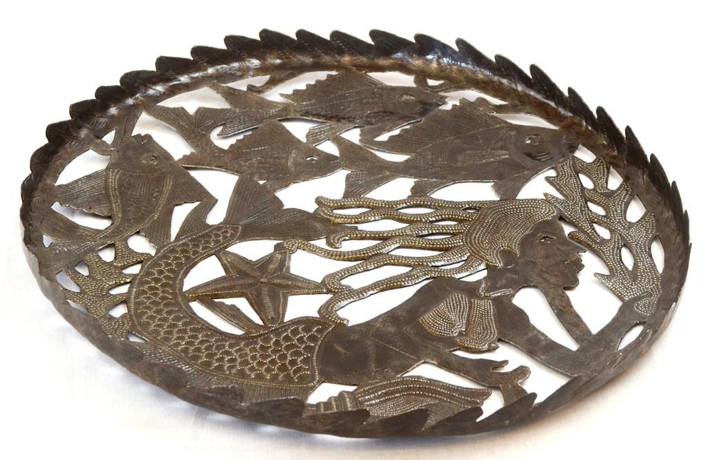 Large Flat Bowl with Mermaid Design Haiti Metal Art