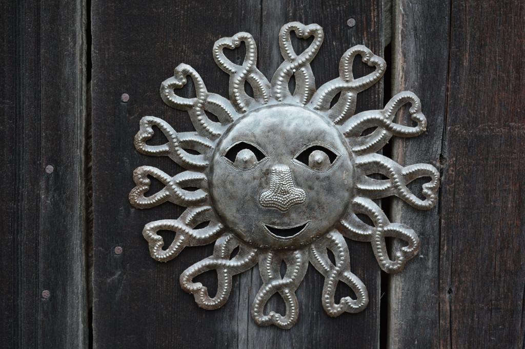 Indoor and outdoor wall art, Haiti metal bright sunny sun