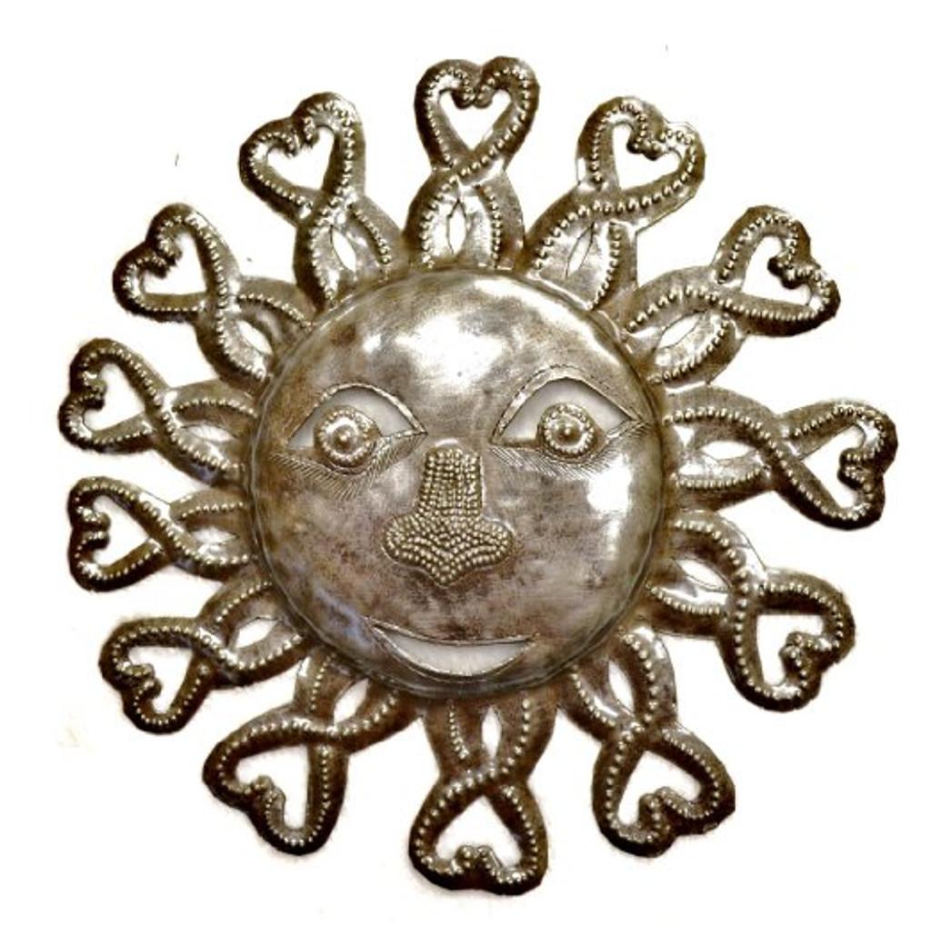 Metal Sun from Haiti, Handmade from steel drum art
