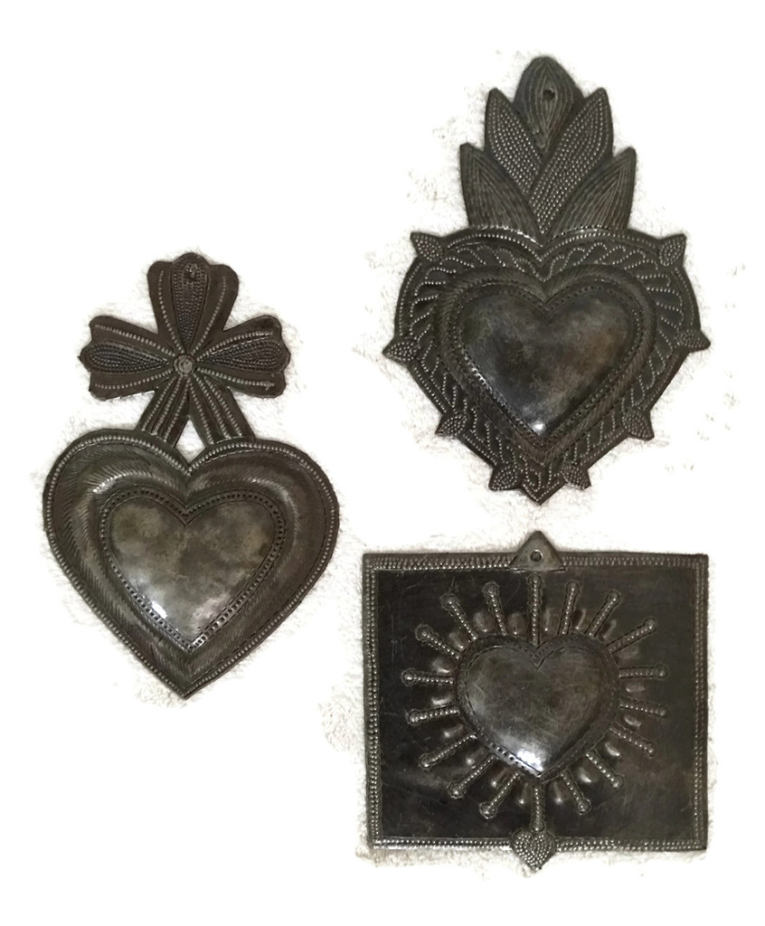 "Beautiful Milagro Hearts (set of 3) Handmade charms from Haiti, 6"""
