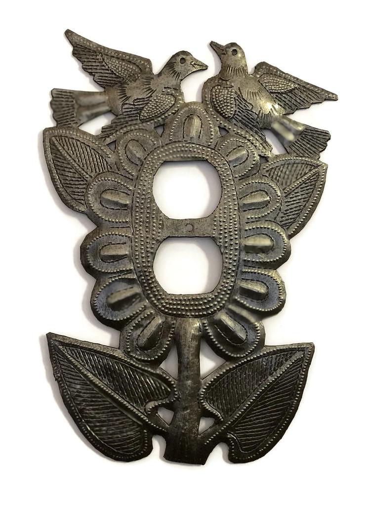 Sunflower Petals Electrical Cover, Handmade in Haiti, Sturdy Metal