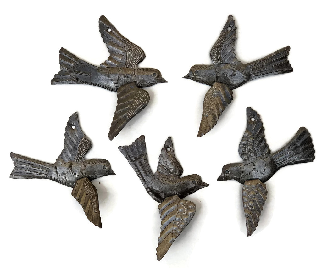 "Birds with 3-D Wings, Metal Wall Art Handmade in Haiti SM491 (set of 5) 6"" x 6"""